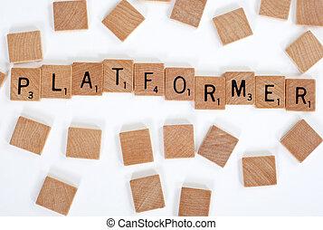 tegels, spellen, scrabble, 'platformer', uit