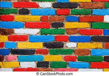 tegelsten, enastående, färgrik, bakgrund, wall.
