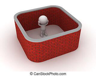 tegelsten, fasthängd, vägg, man, omkring, 3