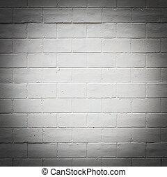 tegelsten, struktur, vägg, målad, vit