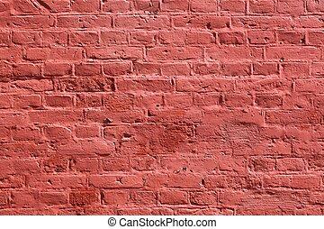 tegelsten vägg, bakgrund, struktur, röd