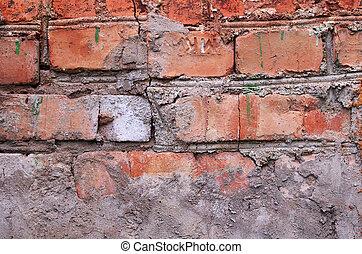 tegelsten vägg, horisontal, detaljerna, bakgrund, gammal, weatherd, apelsin, nära, -, sprickor, cement, måla, uppe