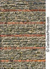 tegelsten vägg, med, stripes
