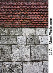 tegelsten vägg, sten, slott, bakgrund