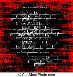 Tegelstenar, abstrakt, insida, mörk, bakgrund,  grungy, röd