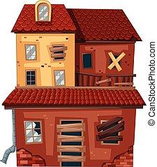 tegelstenar, hus, gammal, röd