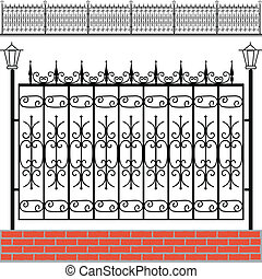 tegelstenar, järn, staket, röd