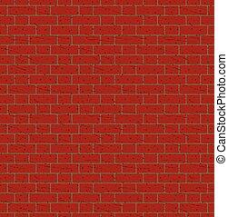 tegelstenar, vägg, seamless, röd, mönster