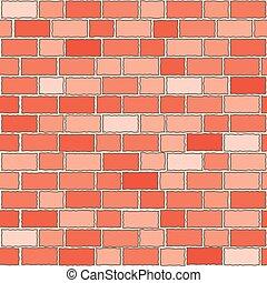 tegelstenar, vägg, seamless, röd