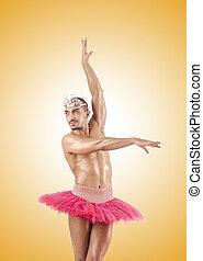 tegen, ballet, helling, man, tutu