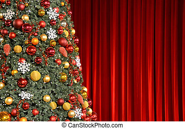 tegen, boompje, kerstmis, manufacturen, rood