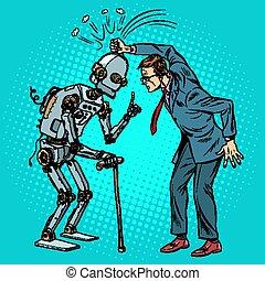tegen, oud, robot, man