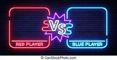 tegen, plein, frames., scherm, vechters, neon, twee, illustratie, meldingsbord, slag, vector, confrontatie, spandoek, battle.