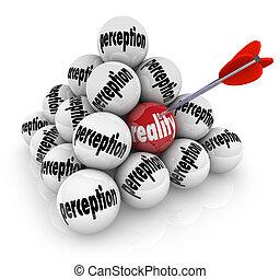 tegen, waarneming, mythe, proving, fictie, vs, waarheid,...