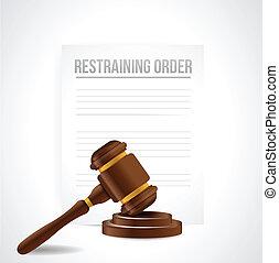 tegenhouden, order, documents., illustratie