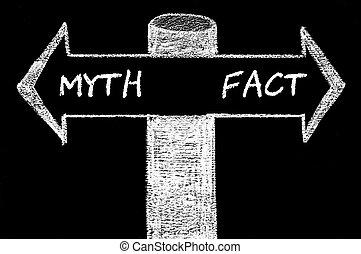 tegenoverstaand, pijl, met, mythe, tegen, feit