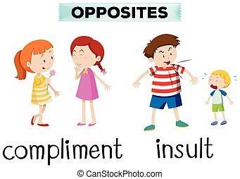 tegenoverstaand, woorden, voor, compliment, en, belediging