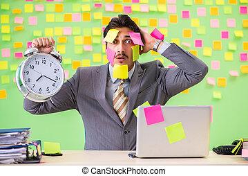 tegenstrijdig, management, velen, priorities, tijd, zakenman