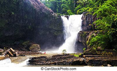 Tegenungan falls in tropics on the island of Bali