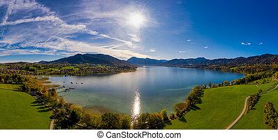 tegernsee, πάνω , γινώμενος , drone., φθινόπωρο , λίμνη , φανταστικός , βλέπω , πανοραματικός , πέφτω , βαυάρος , μπογιά