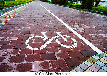 tegn, bike rute, ind, fremtiden