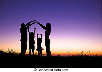 tegn, indgåelse, glad familie, høj, hjem