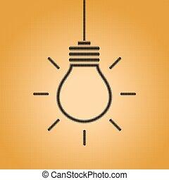 tegn, kreative, pære, lys, ide, begreb