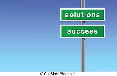 tegn, løsninger, success.