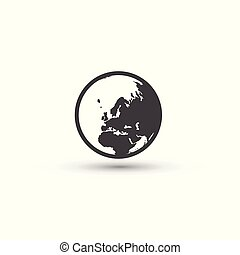tegn., symbol., jord planet, verden, icon.