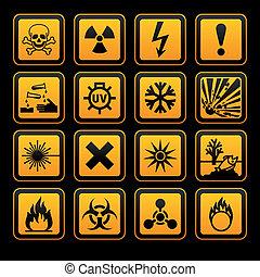 tegn, vectors, hazard, symboler, sort baggrund, appelsin