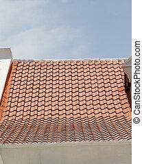 tegole, vecchio, intonacare, tetto, nuovo, bianco