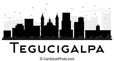 Tegucigalpa City Skyline black and white silhouette. Vector...