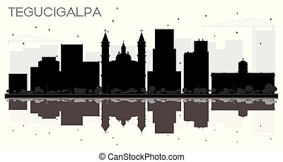Tegucigalpa Honduras City Skyline Black and White Silhouette...