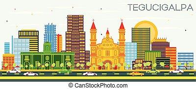 Tegucigalpa Honduras City Skyline with Color Buildings and...