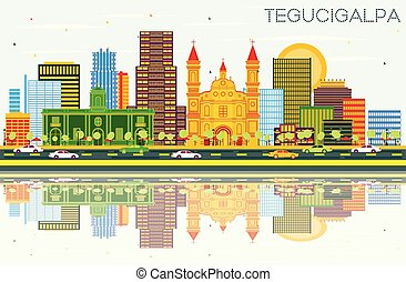 Tegucigalpa Honduras City Skyline with Color Buildings, Blue...