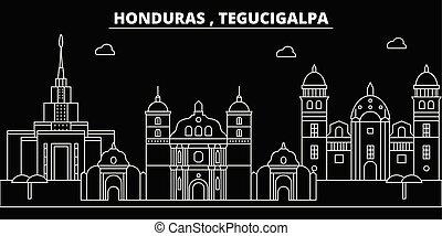 Tegucigalpa silhouette skyline. Honduras - Tegucigalpa...