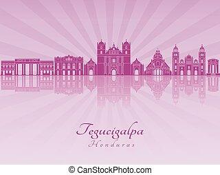 Tegucigalpa skyline in purple radiant orchid in editable...