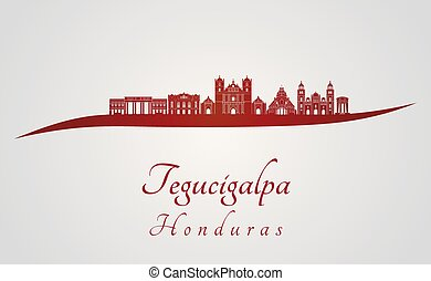 Tegucigalpa skyline in red and gray background in editable...