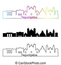 Tegucigalpa skyline linear style with rainbow in editable...