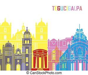 Tegucigalpa skyline pop in editable vector file