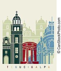 Tegucigalpa skyline poster in editable vector file