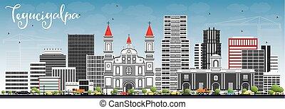 Tegucigalpa Skyline with Gray Buildings and Blue Sky. Vector...