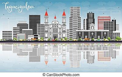 Tegucigalpa Skyline with Gray Buildings, Blue Sky and...