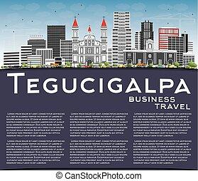 Tegucigalpa Skyline with Gray Buildings, Blue Sky and Copy...