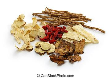 teh, bestandteile, chinesisches , kut, traditionelle , malaysien, medizinprodukt, kräuter, bak