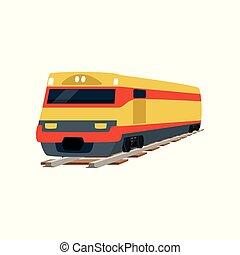 teherárú kíséret, ábra, vektor, sárga, vasút, lokomotív