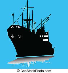 teherhajó, árnykép