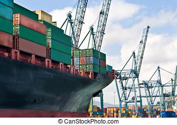 teherhajó, berakodás, tároló