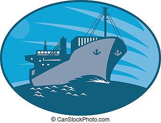 teherhajó, konténer, retro, fuvarozó