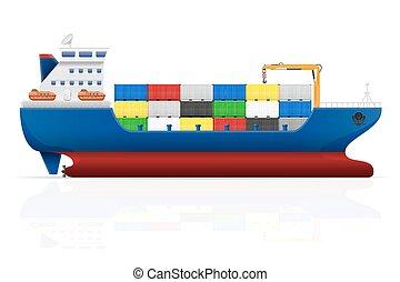 teherhajó, vektor, ábra, tengeri